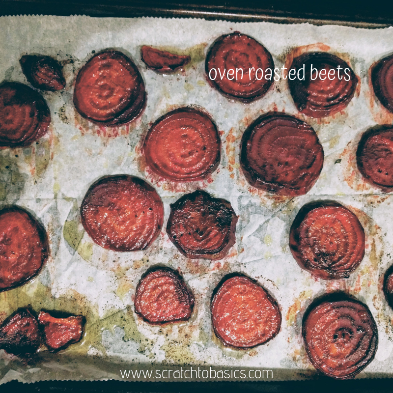 oven roasted beets on a sheet pan