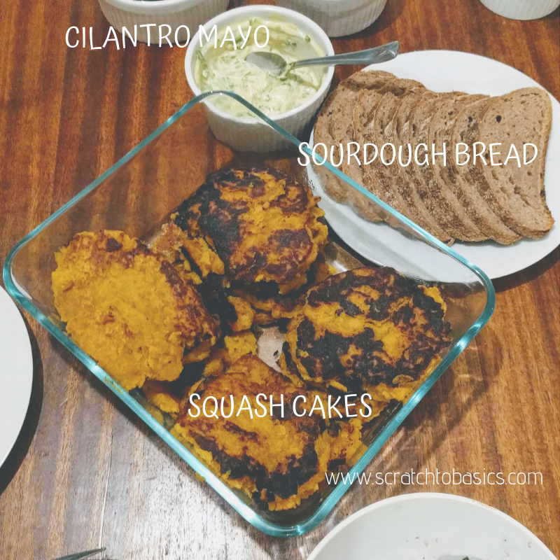 squash cakes, cilantro mayo, and sourdough bread